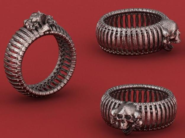Boneskulls Ring 3d printed Render in Stainless Steel