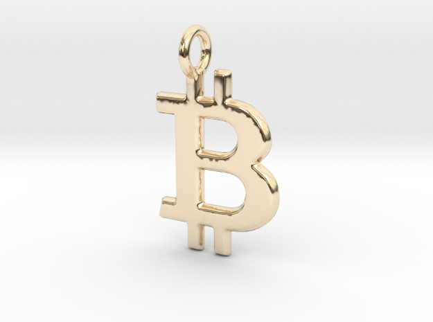 Bitcoin Pendant in 14K Gold