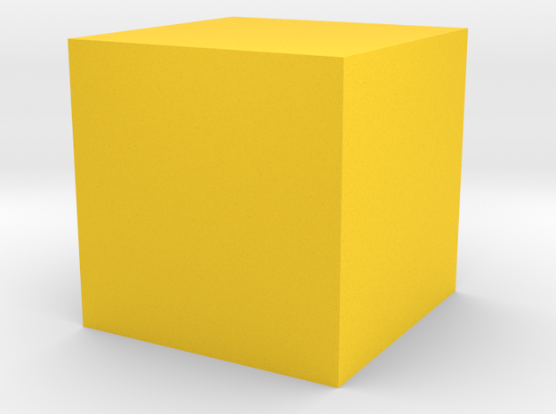 2 Cube (or hexahedron) (six faces). in Yellow Strong & Flexible Polished