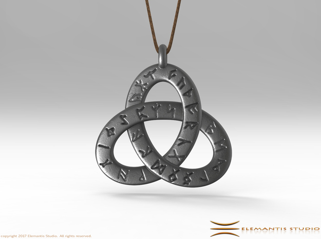 Saxon Rune Poem Triquetra 4.5cm in Polished Bronzed Silver Steel