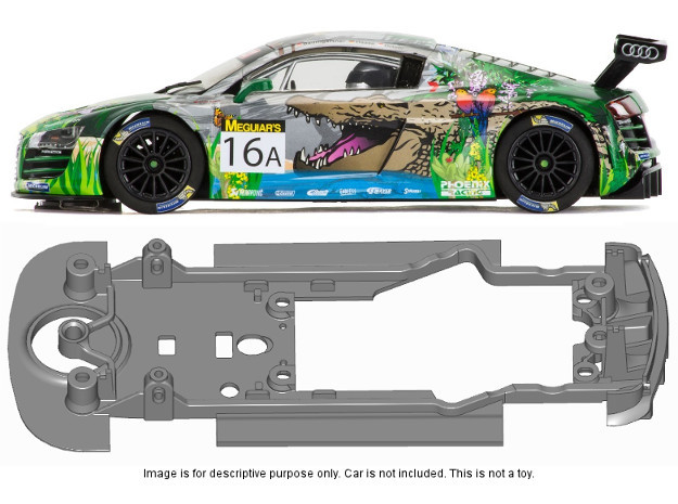S22-ST2 Chassis for Scalextric Audi R8 STD/STD in Black Natural Versatile Plastic