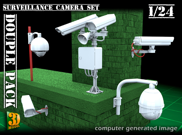 Surveillance cameras (1/24) double pack in Smooth Fine Detail Plastic