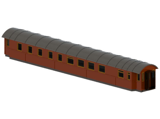 RCo1 - Swedish passenger wagon in Smooth Fine Detail Plastic