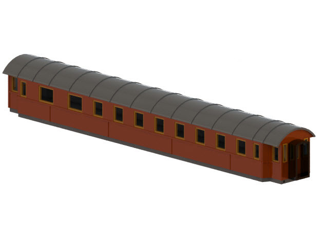 BCo7b - Swedish passenger wagon in Smooth Fine Detail Plastic
