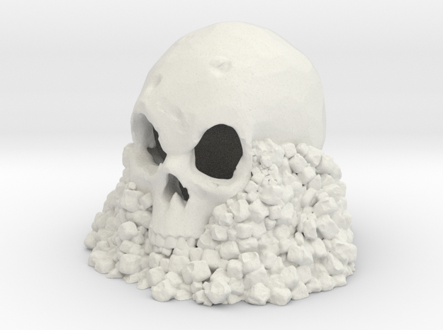 Skull on Rocks in White Natural Versatile Plastic