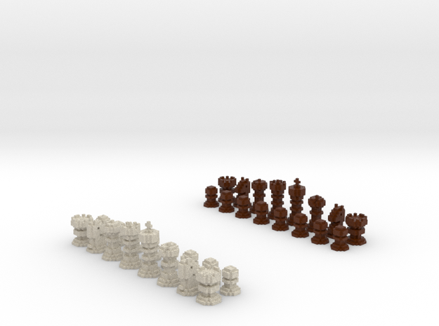 3D Pixel Chess Pieces - Wooden