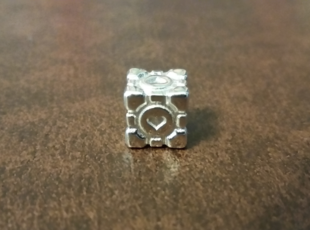 Portal Companion Cube Bead (for thread or wire) in Polished Silver