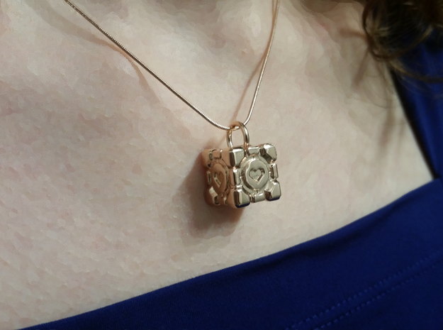 Portal Companion Cube Pendant in 14k Rose Gold Plated Brass