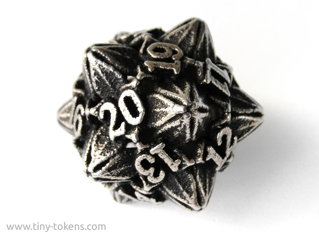 Floral Dice – D20 Spindown Life Counter die in Polished Bronzed Silver Steel