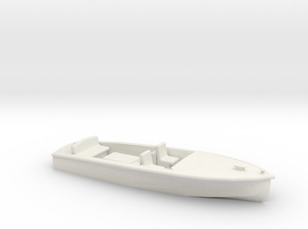 Classic RUNABOUT O Scale Boat in White Natural Versatile Plastic