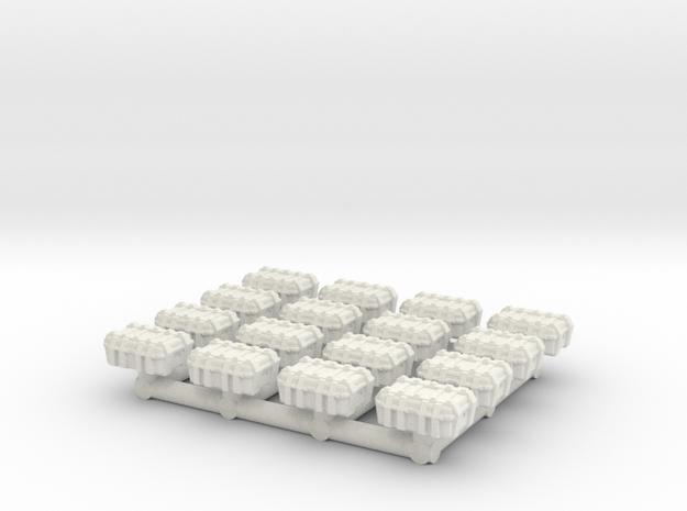 1/87 Scale Explosive Cases x16 in White Natural Versatile Plastic
