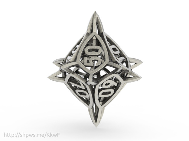 'Center Arc' dice, 10D10 Spindown Life Counter in Polished Bronzed Silver Steel