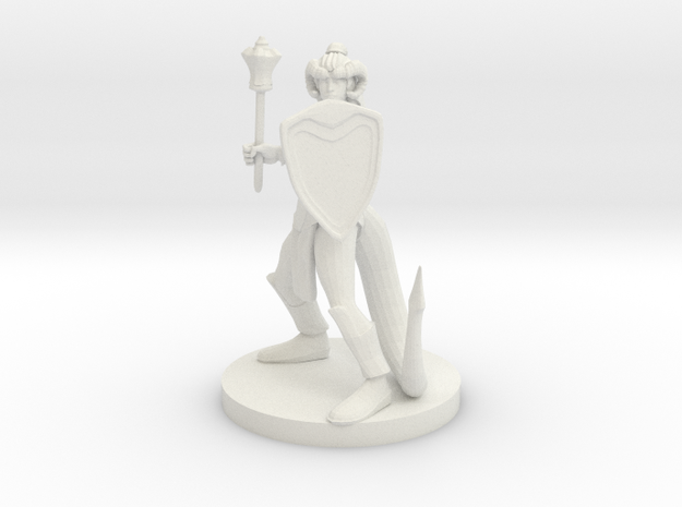 Tiefling Female Cleric in White Natural Versatile Plastic