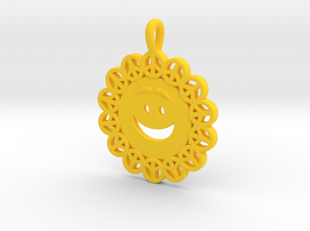 25- PEACE-CIRCLES_ smiley in Yellow Processed Versatile Plastic: Small