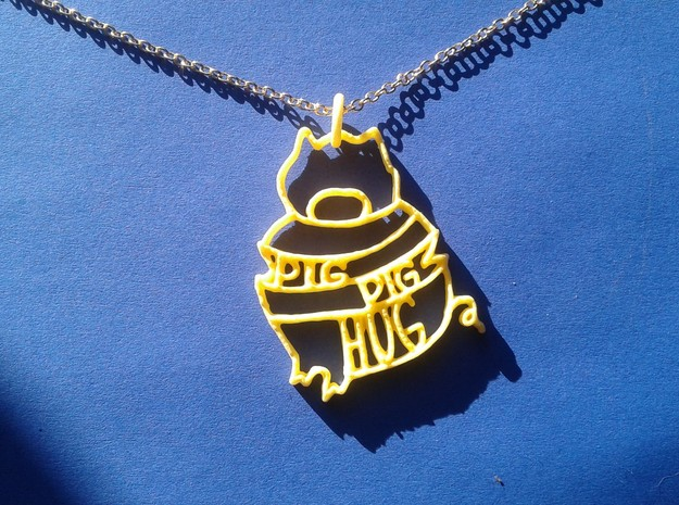Pig Pig Hug in Yellow Processed Versatile Plastic