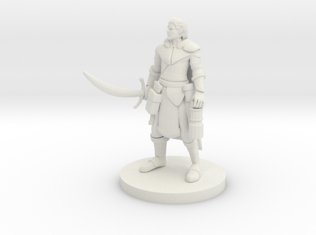 Half Elf Male Ranger with Moonblade in White Natural Versatile Plastic