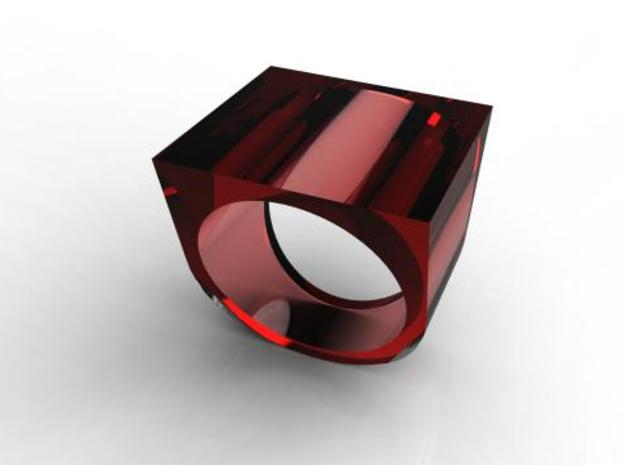 Square Ring 3d printed Transparent Red