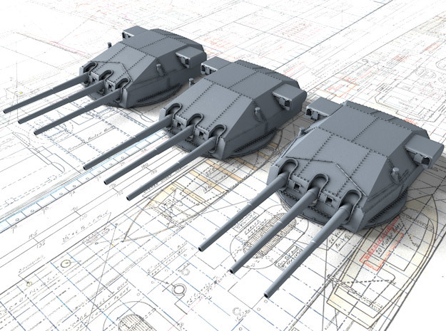 "1/700 DKM Gneisenau Turrets 28cm (11"") 1936 in Frosted Extreme Detail"