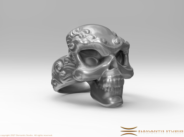 Elemental Skull Ring 'Water'  in White Premium Versatile Plastic: 6 / 51.5