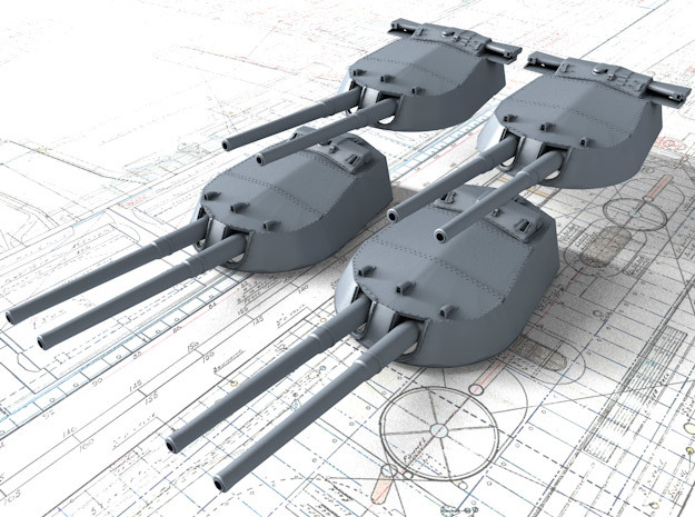 "1/700 15"" MKI 'R' & Queen Elizabeth Class Guns x4 in Smoothest Fine Detail Plastic"