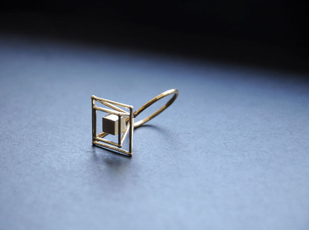 Levitating cube size 56 in Raw Brass