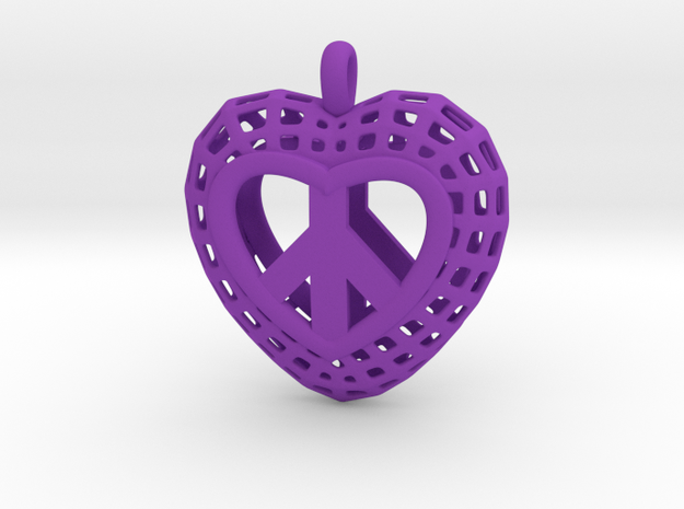 07-  Heart Mesh Pretzel Heart   in Purple Strong & Flexible Polished
