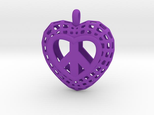 07-  Heart Mesh Pretzel Heart   in Purple Processed Versatile Plastic