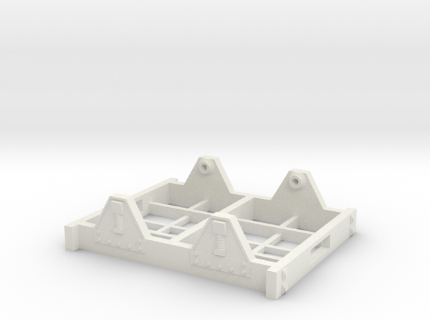 "On30 Railcar Underframe 1.5"" long Detailed in White Natural Versatile Plastic"