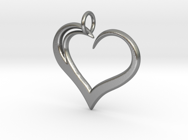 Heart to Heart Pendant V3.0 in Raw Silver