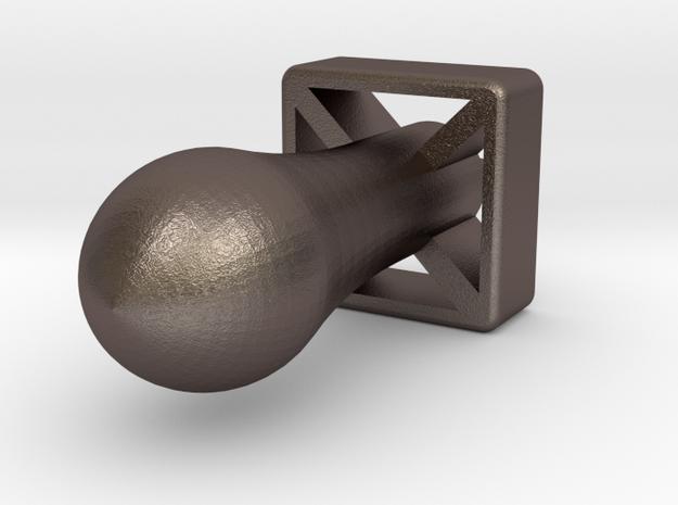 Nuke Keychain in Polished Bronzed Silver Steel