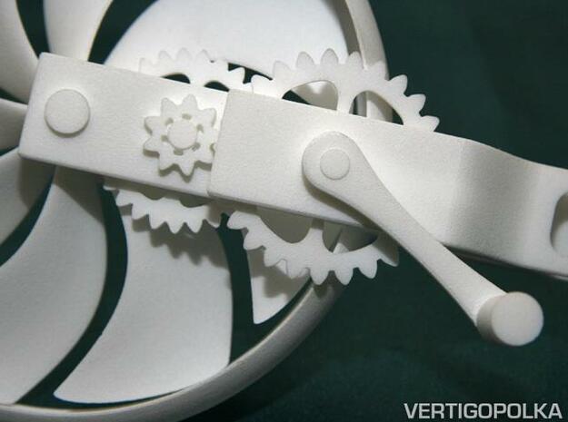 Hand-Crank Fan 3d printed Hand-Crank Fan close-up