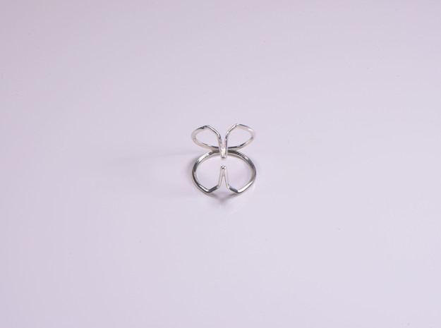 """YOUNIVERSAL """"Kiss me if you can"""" US size 3, d=14mm in Polished Silver: 3 / 44"""