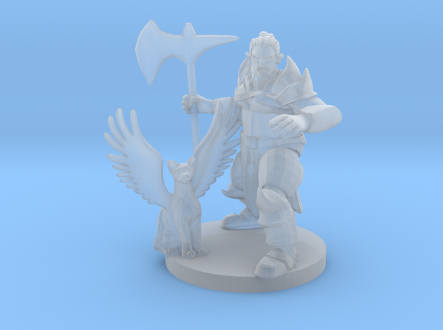 Half Orc Knight with Flying Kitty in Smooth Fine Detail Plastic