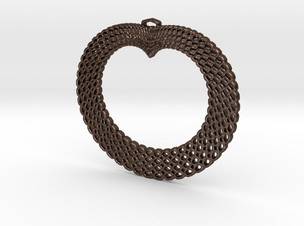 Crochet Heart Pendant in Polished Bronze Steel