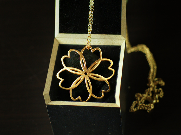 Cherry Blossom Symbol Pendant in Natural Bronze