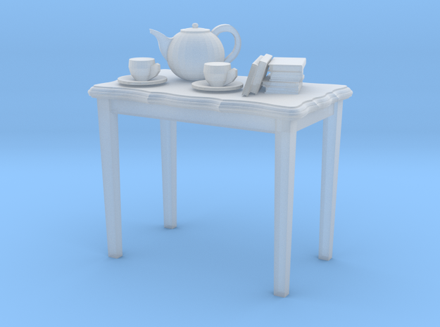 HO scale 2 foot side table with tea pot, cups & a
