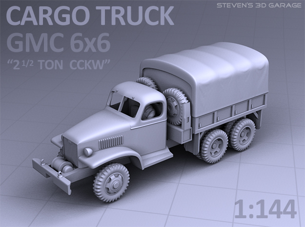 CARGO TRUCK - GMC CCKW 6x6 in Smooth Fine Detail Plastic