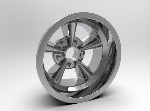 1:8 Rear American Five Spoke Wheel in White Strong & Flexible Polished