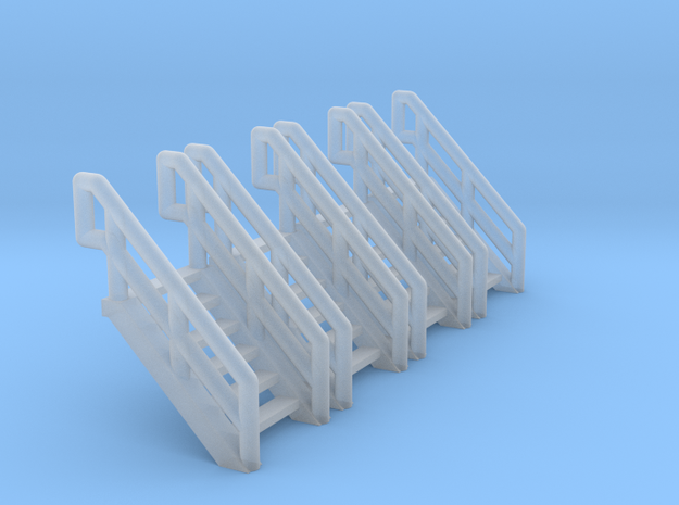Z Scale Industrial Stairs 6 (4pc) in Smooth Fine Detail Plastic