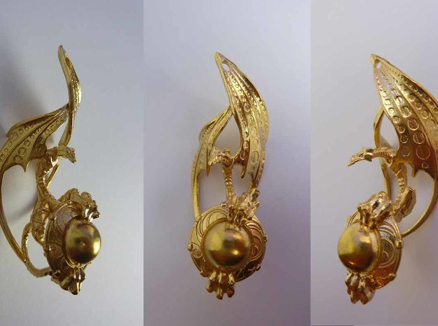 LUX DRACONIS left earring in Natural Brass