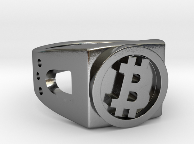 Bitcoin Ring in Polished Silver: 8 / 56.75