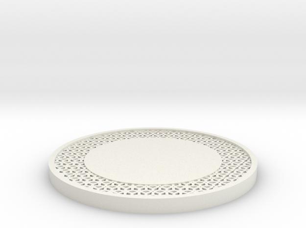 Lattice Drink Coaster Star Pattern in White Natural Versatile Plastic