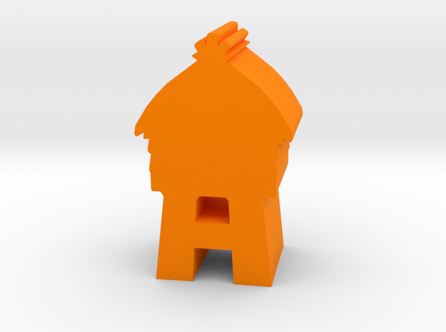 Game Piece, Wooden Tower in Orange Processed Versatile Plastic