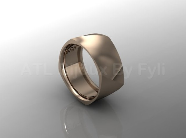 Band with Twisted Cushion Shape. in 14k Rose Gold Plated: 8.5 / 58