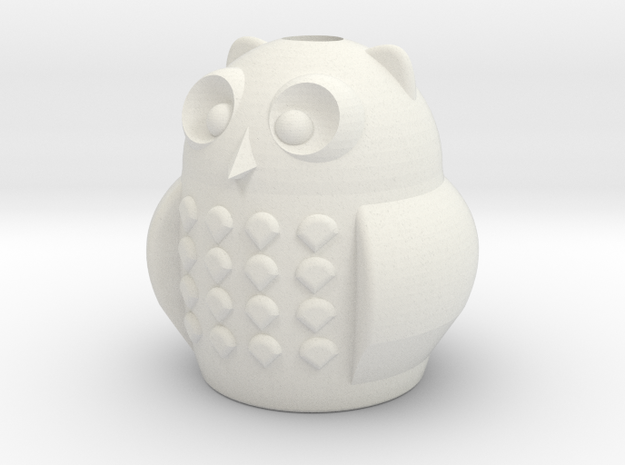 Owl Pencil Cup in White Natural Versatile Plastic