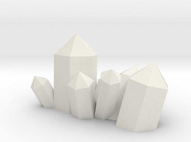 Crystal Cluster Style #5 (28mm Scale) in White Natural Versatile Plastic