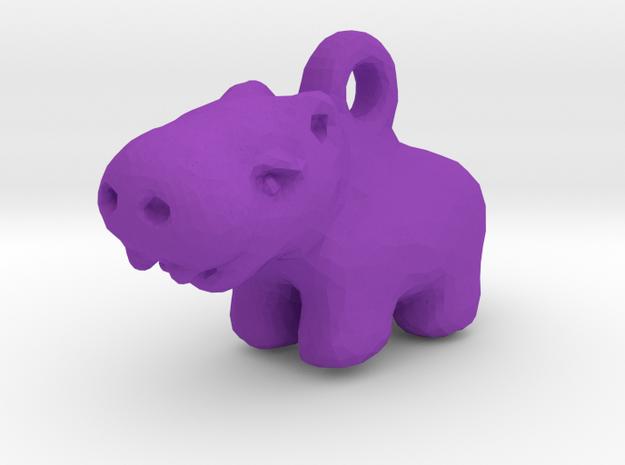 Baby Hippo Pendant in Purple Processed Versatile Plastic