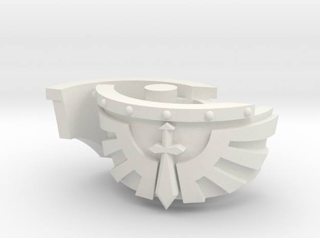 Kataphraktos Shoulder Pad - Angel Sword - Left set in White Strong & Flexible: Small