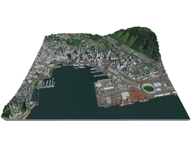 Colored Map of Downtown Wellington, New Zealand  in Full Color Sandstone