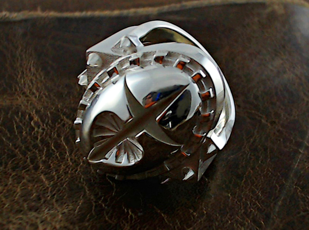 Heart and Dagger Ring - Size 9 1/2 (19.35 mm) 3d printed Polished Silver - See sizing advice!